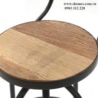 ghế khung sắt nan gỗ