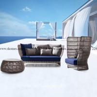sofa mây nhựa phòng khách