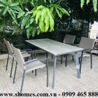 Bàn khung nhôm xám mặt gỗ tự nhiên, Bàn ghế nhôm giá rẻ, bàn ghế nhôm tp hcm, mẫu bàn ghế nhôm đẹp, thanh lí bàn ghế nhôm, báo giá bàn ghế nhôm, Bàn ghế nhôm ngoài trời, Phân phối bàn ghế nhôm tại tp hcm, Công ty bán bàn ghế nhôm tại tp hcm, bàn ghế nhôm xếp gọn tiện lợi, thanh lí bàn ghế nhôm inox giá rẻ, mua bàn ghế nhôm tại tphcm.
