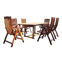 Bộ bàn ghế gỗ ngoài trời - mặt bàn hình elip
