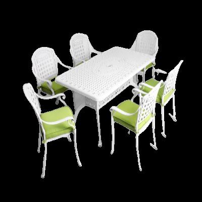 Bàn ghế nhôm đúc sân vườn【đẳng cấp】thời thượng màu trắng
