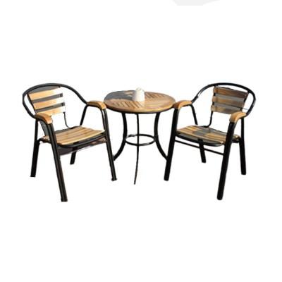 BỘ BÀN GHẾ CAFE KHUNG SẮT TĨNH ĐIỆN KẾT HỢP NAN GỖ HIỆN ĐẠI