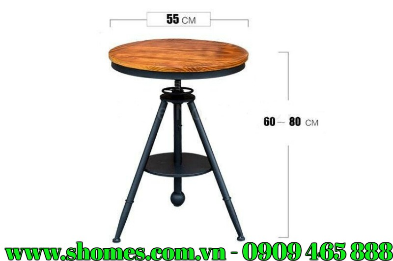 Bàn ghế cà phê là một trong những món nội thất không thể thiếu ở bất kỳ một không gian quán cà phê nào. Nó là nơi đáp ứng nhu cầu thưởng thức cà phê cho khách hàng đồng thời giúp cho không gian quán trở nên đẹp và ấn tượng hơn. Vậy nên, nếu bạn đang muốn tìm kiếm những bộ bàn ghế cà phê đẹp để thay đổi không gian thì bộ bàn ghế cà phê hình tròn 4 chỗ ngồi mới mẻ đầy phong cách cũng là một gợi ý để bạn tham khảo.   NHỮNG THÔNG TIN CƠ BẢN VỀ BỘ BÀN GHẾ CÀ PHÊ HÌNH TRÒN 4 CHỖ NGỒI CẤU TẠO VÀ CHẤT LIỆU BỘ BÀN GHẾ CÀ PHÊ HÌNH TRÒN 4 CHỖ NGỒI   Bộ bàn ghế cà phê hình tròn bao gồm 1 bàn và 4 ghế ngồi bọc nệm.  Chất liệu chính để cấu tạo nên bộ bàn ghế này là khung kim loại, gỗ cao su và nệm xốp.  Khung kim loại chắc chắn, được sơn tĩnh điện màu đen để làm tăng độ bền, hạn chế gỉ sét.  Bề mặt bàn và ghế ngồi được làm từ gỗ cao su, đảm bảo cứng chắc, gỗ được xử lý kỹ lượng nên không bị ẩm mốc, mối mọt trong quá trình sử dụng.  Ghế ngồi có nệm bọc da đi kèm. Nệm có độ đàn hồi tốt, không bị biến dạng. Lớp giả da bọc ngoài là loại cao cấp có độ bền cao, đảm bảo mềm mại, không bị mài mòn.  THÔNG SỐ KỸ THUẬT CỦA BỘ BÀN GHẾ CÀ PHÊ HÌNH TRÒN 4 CHỖ NGỒI   Kích thước bàn: 60-80 cm (chiều cao) x 55cm (đường kính mặt bàn)  Kích thước ghế: 75cm (chiều cao)  BỘ BÀN GHẾ CÀ PHÊ HÌNH TRÒN 4 CHỖ NGỒI THIẾT KẾ ẤN TƯỢNG, ĐẦY CÁ TÍNH   Không quá cầu kỳ đường nét, bàn ghế cà phê được thiết kế tương đối đơn giản nhưng lại vô cùng sáng tạo, hút mắt. Bàn được thiết kế hình tròn với 3 chân hình chóp, gắn kết với nhau tại đĩa kim loại. Đặc biệt, giá đỡ bàn nằm ở trung tâm, có thiết bị điều chỉnh độ cao, tức là bạn có thể nâng hoặc hạ chiều cao bàn phù hợp với nhu cầu. Trục giá đỡ có thiết kế đĩa kim loại, giúp kết nối các chân bàn vừa được sử dụng như một kệ chứa đồ.    Ghế ngồi thiết kế nửa hình tròn với tựa lưng, tay vị được uốn tròn giúp ôM trọn cơ thể người ngồi. Ghế được thiết kế 4 chân với 2 chân sau hơi nghiêng để tạo sự chắc chắn, vững chắc cho ghế. Ngoài ra, ghế có nệm đi kèm, lớp nệm này ho