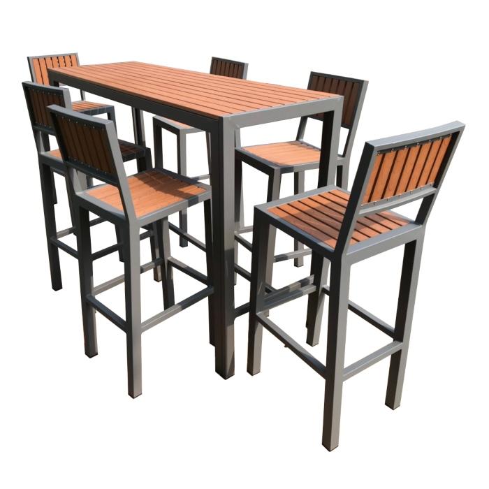 Bộ bàn ghế ngoài trời khung sắt - nan gỗ composite