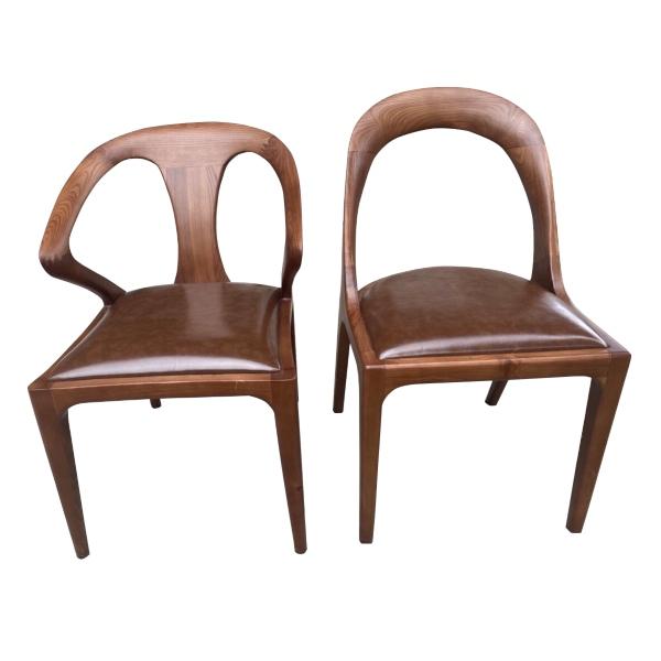 Mẫu ghế cafe gỗ - đệm bọc da