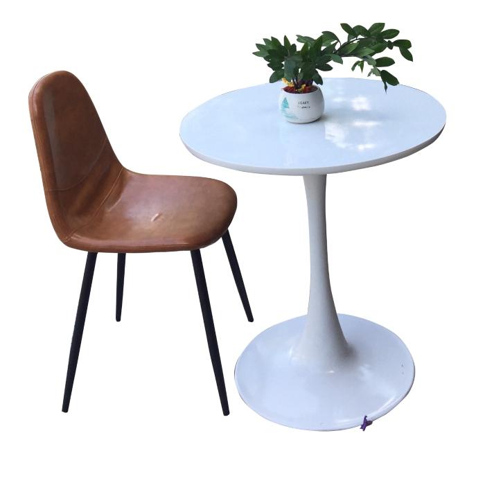 Bộ bàn ghế cafe chân sắt - đệm da