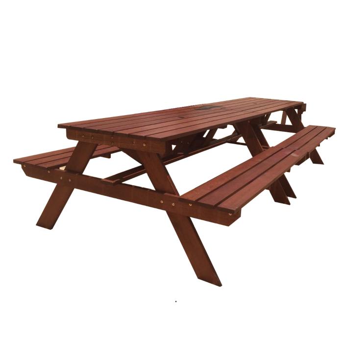 Bộ bàn ghế đôi bằng gỗ ngoài trời cao cấp