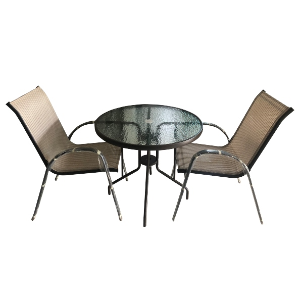 Bộ bàn ghế khung sắt - bàn tròn mặt kính cao cấp