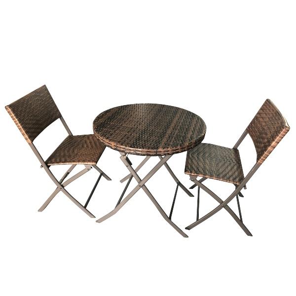 Bộ bàn ghế nhựa mây - khung kim loại