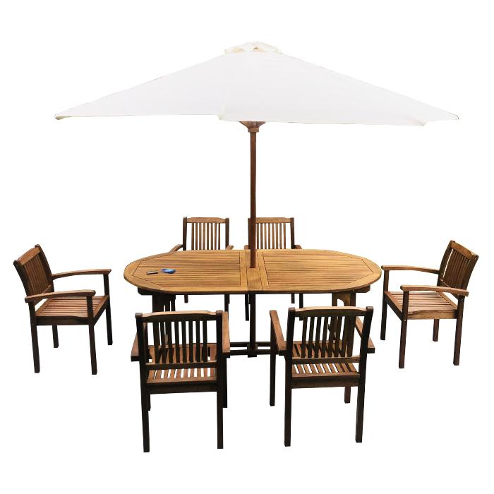 Bộ bàn ghế gỗ ngoài trời có sức chứa chỗ ngồi lớn