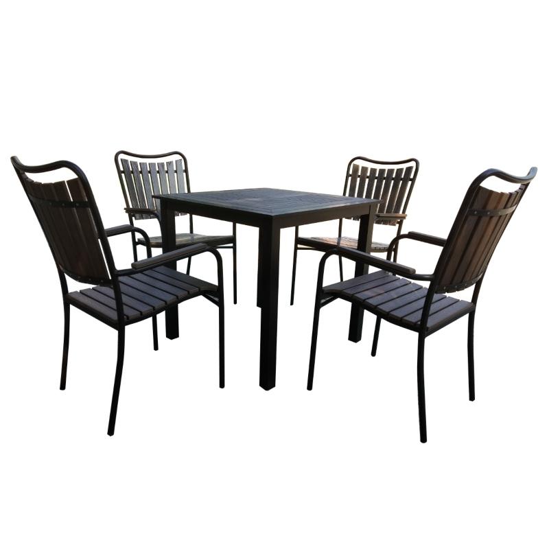 Bộ bàn ghế nan gỗ - khung kim loại
