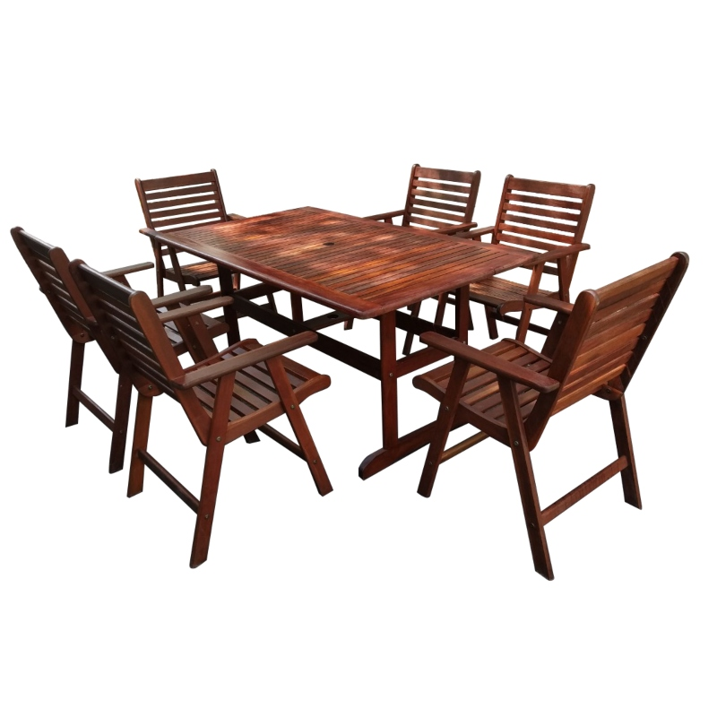 Bộ bàn ghế gỗ ngoài trời - bàn hình chữ nhật