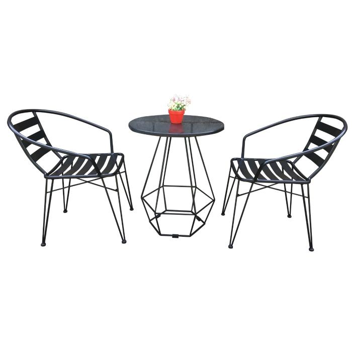 Bộ bàn ghế khung sắt hai màu đen trắng
